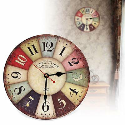 Vintage Wooden Wall Clock Shabby Chic Rustic Retro Kitchen Home Antique Decor WT