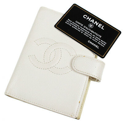 CHANEL CC Day Planner Cover Notebook Caviar Skin White Italy Vintage Auth #Z353