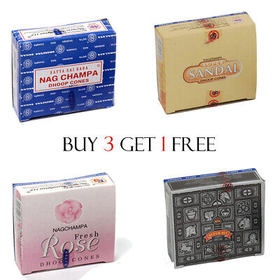 Genuine Satya Insence Nag Champa Superhit Incense Cones- Buy 3 Get 1 Free