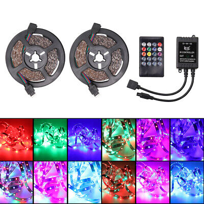 2*5m  RGB LED Strip 3528 600LED SMD Flexible Light Music IR Remote Controller