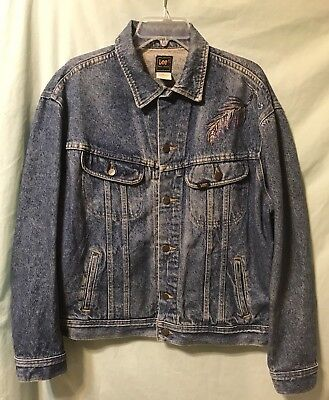 7f5d32d8 LEE PATD-153438 Vintage 70's Jean Jacket Classic Rider Painted w/Beads Size  L