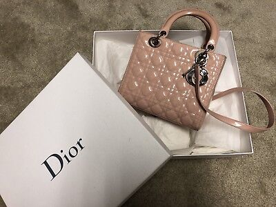 ae5390de48 Auth Christian Dior lady Dior Pink Patent leather Color Medium Size Bag.
