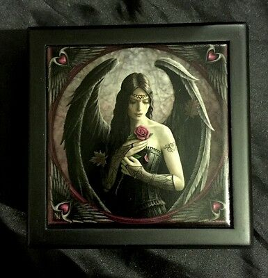 "Anne Stokes Square Tiled Lid Wooden Box, Velvet Lining ""Angel Rose"""