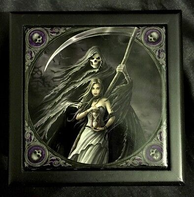 "Anne Stokes Square Tiled Lid Wooden Box, Velvet Lining ""Summon The Reaper"""