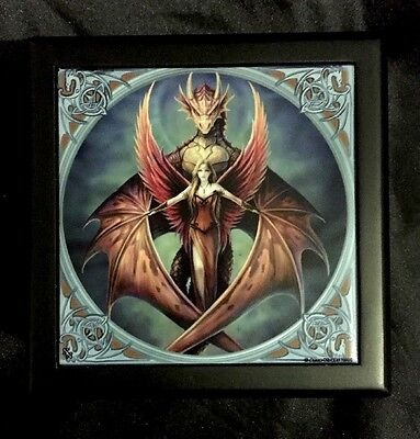 "Anne Stokes Square Tiled Lid Wooden Box, Velvet Lining ""Copper Wings"""