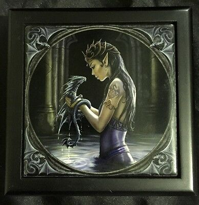 "Anne Stokes Square Tiled Lid Wooden Box, Velvet Lining ""Water Dragon"""