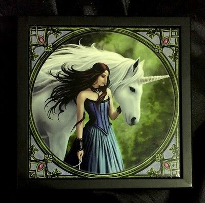 "Anne Stokes Square Large ,Tiled Lid Wooden Box Velvet Lining ""Enchanted Pool"""