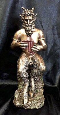 Bronze Cold Cast Coated Statue Of Pan God of The wild & Music,  23cm Tall