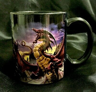 "Designer Tom Wood Ceramic Coffee Mug "" Unleash The Dragon"" Gothic Fantasy"