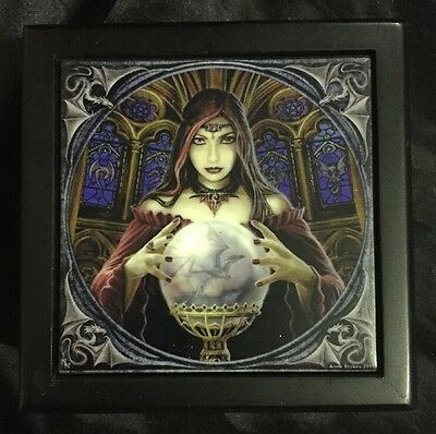 "Anne Stokes Square Tiled Lid Wooden Box, Velvet Lining ""Crystal Ball"""