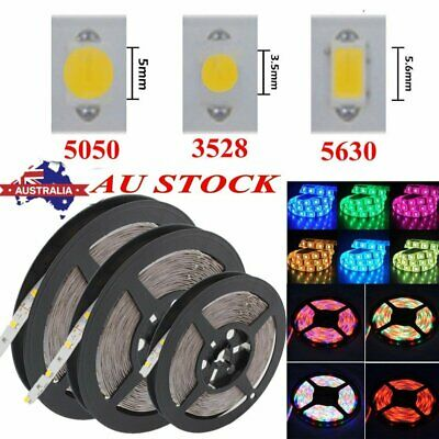 5M-50M 5050 5630 3528 SMD Waterproof LED Flexible Strip Lights DC 12V White RGB