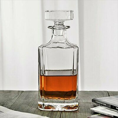 QUEEN&STONE Square 26 oz Crystal Whiskey Decanter with Glass Stopper—Lead Free