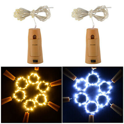 6/10pcs 2M Cork Shaped LED Light Wire Starry Bottle Lamp Decor Cool/Warm White