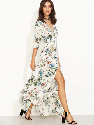 1732a23a52 SHEIN Plunge Split Front Elbow Sleeve Floral Print Dress Size M DH091 MM 08