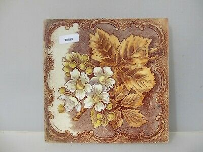 Antique Ceramic Tile Architectural Vintage Floral Flower Floral Leaf Art Nouveau