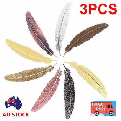 3PCS Antique Feather Shaped Metal Bookmark For Gift Book Office School_Useful