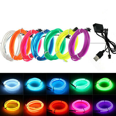 1/2/3/4/5M LED Flexible Neon Light Glow EL Strip Tube Cool Wire Rope Home Decor