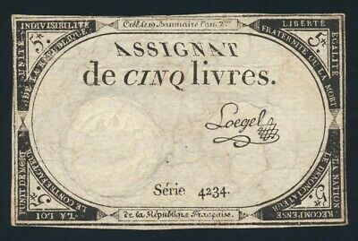 France: FRENCH REVOLUTION 31-10-1793 5 Livres HISTORIC! Pick A76 VF Cat $13+