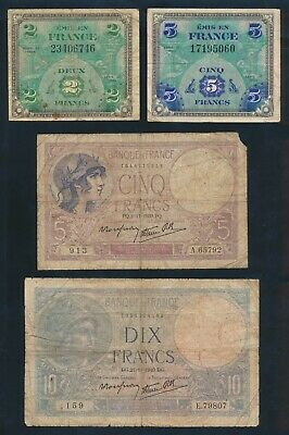 "France: 1939-80 2 to 100 Francs ""NICE COLLECTION OF 10 DIFFERENT"". Pick 83-151a"