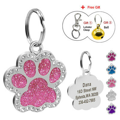Personalised Dog Tags Disc Disk Rhinestones Engraved Pet ID Name Tag Paw Glitter
