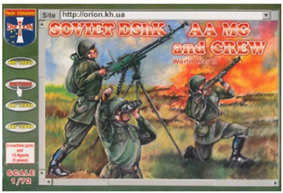 SOVIET DSHK AA MG AND CREW WORLD WAR II 1/72 Soldiers Figures Model Kit Orion