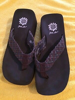 f452ab028 YELLOW BOX Brown ASAP WOMEN S Braided FLIP FLOP SANDALS SHOES Size 7