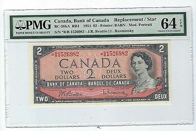 1954 Canada 2 Dollar Replacement Note - *BB BC-38bA PMG 64 EPQ