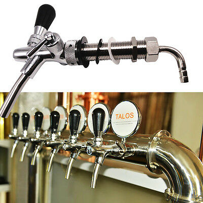 With G5/8 thread 98mm Shank Adjustable Draft Beer Faucet Chrome Kegerator Tap