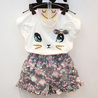 Toddler Kids Baby Girls T-shirt Tops+Floral Short Pants Outfits Clothes 2PCS Set