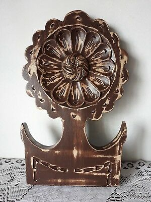Antique Vintage Architectural Hand Carved Wood Pediment Shabby Painted