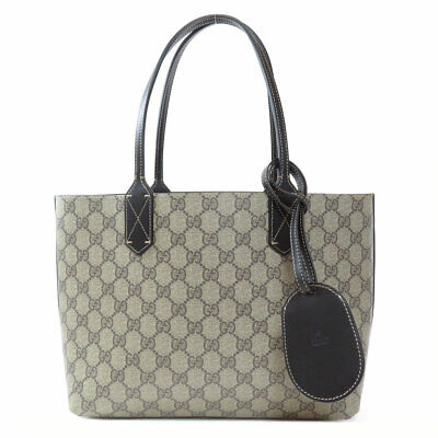 b55315e5320f GUCCI 372613 Tote Bag GGold Platedattern Reversible Leather ...
