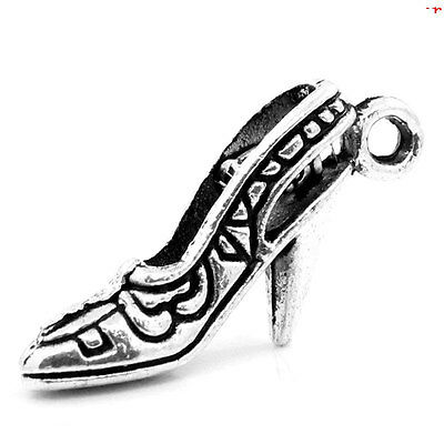 50570 Antique Silver Alloy High-heeled Shoes Pendants Charms Craft Finding 40pcs