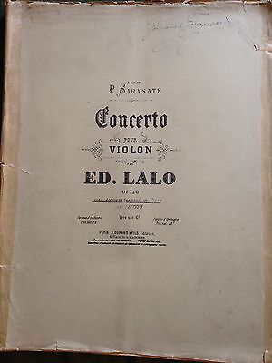 Edouard Lalo - 3 partitions violon piano concerto score partition unité ou lot
