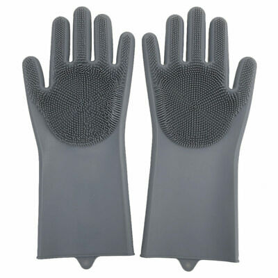 Magic Silicone Dishwashing Gloves with Wash Scrubber, Cleaning Brush Heat, vgh