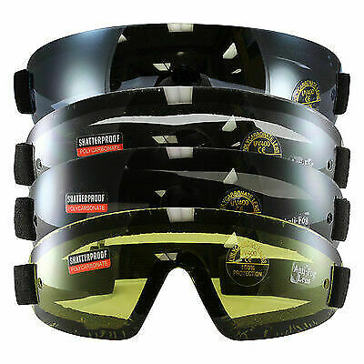 4 Set Birdz Wing SkyDiving Motorcycle Goggles UV400 YELLOW SMOKE BLUE CLEAR