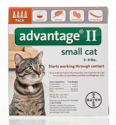 Bayer Advantage II For Small Cats 5- 9Lbs 4 pack/4 months free shipping