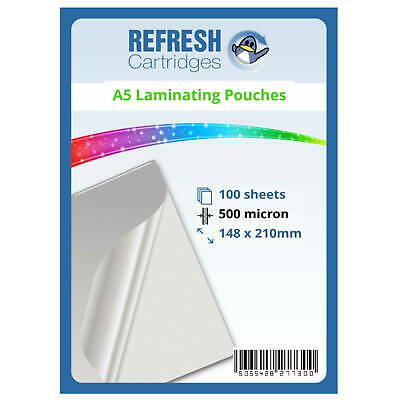 Laminating Pouches A5 500 Micron Pack of 100 Sheets