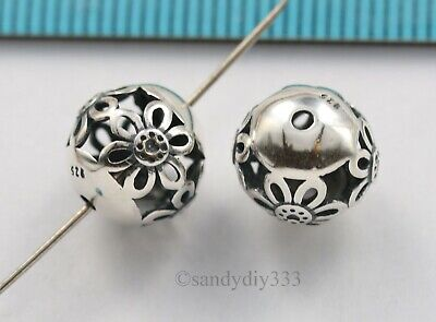 2x BALI OXIDIZED STERLING SILVER ROUND FLOWER SPACER BEAD 9.8mm #3077