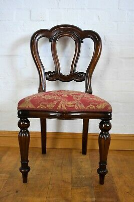 Antique style carved balloon back chair