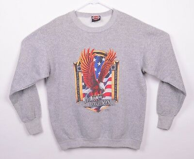 Vtg 1991 3D Emblem Men's Sz Large Harley Davidson Eagle Gray Sweatshirt