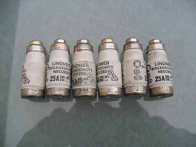 6 x Lindner neozed bottle fuses 25A, D02, gL, 380/250v.