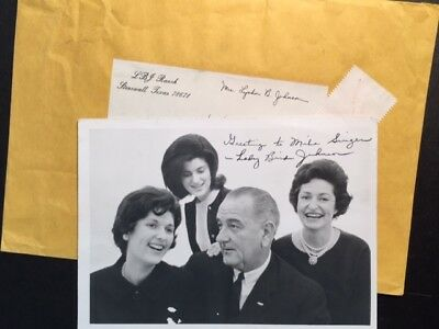 Lady Bird Johnson Signed Family Photo By First Lady Of President Lbj
