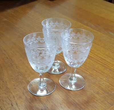 Vintage Etched Elegant Glass Cordials Stemware Clear