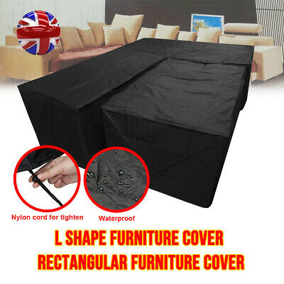Waterproof Garden Corner Furniture Cover Outdoor Sofa UV Protect L Shape Black