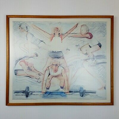 Larry Rivers Modern Art Framed Print NY Pop Artist Exercise Gym Weight Lift