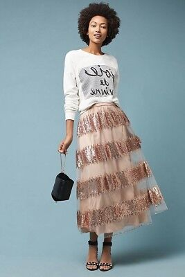3a4aeb9ab4 NWT Anthropologie Eva Franco Revelry Maxi Party Skirt SZ 4P/4 Sequins Tulle  $168