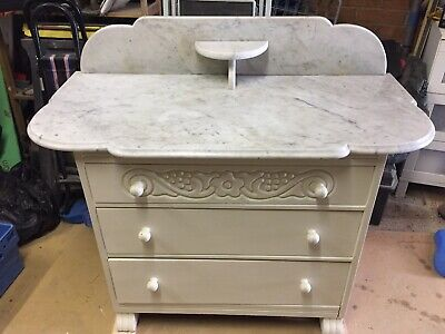 Solid marble top 3 drawer washstand