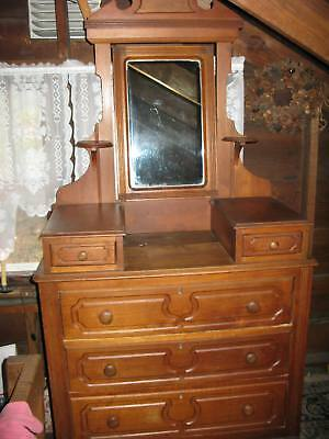 Antique 1880's Victorian Walnut Drop Center Bedroom Dresser – BEAUTIFUL!!