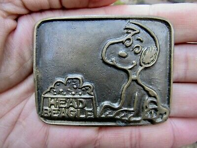 Vtg HEAD BEAGLE Belt Buckle ART Snoopy Schulz Comics Peanuts DOG Brass RARE VG+
