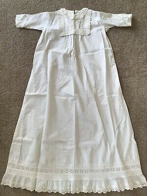 Antique Vtg Childs Christening Baptism Dress Gown Cotton Long Old Ornate Eyelet